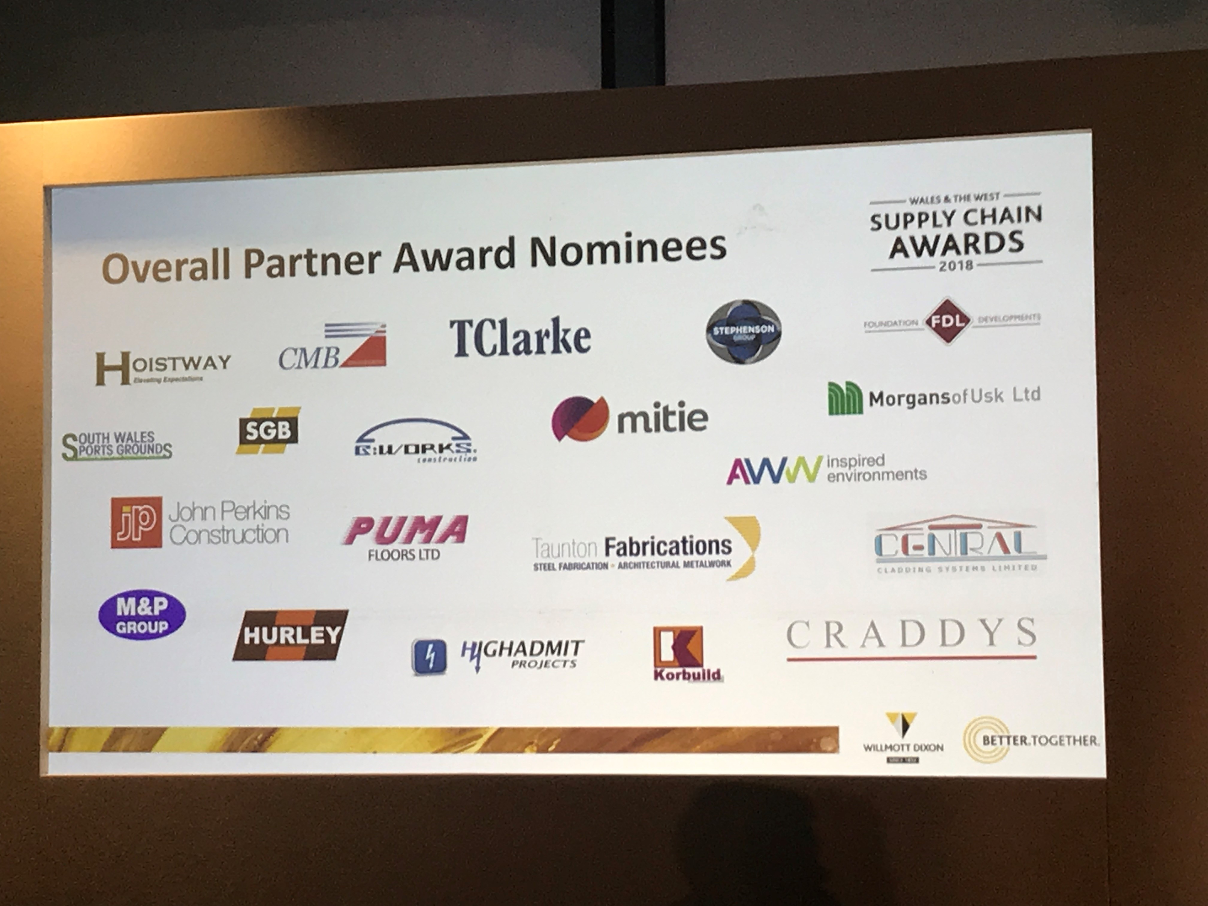 HOISTWAY PROUD TO BE NOMINATED FOR TWO AWARDS AT THE WILLMOTT DIXON WALES AND WEST SUPPLY CHAIN AWARDS